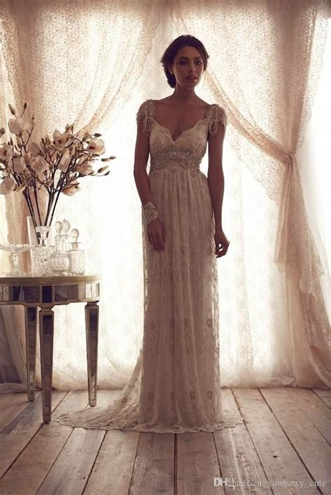 beaded vintage wedding dress 2016 vintage wedding dresses v neck cap sleeves