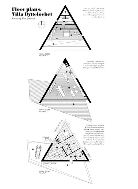 triangular floor plan klevens udde home with triangle shaped floor plan sweden plans home triangles