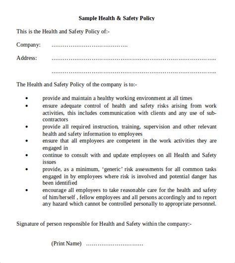 company health and safety policy template 11 health and safety policy templates free sle