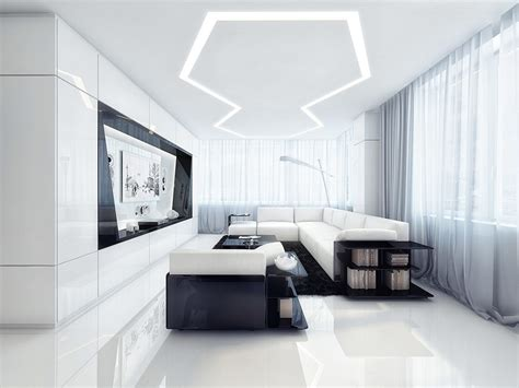 white apartment futuristic black and white apartment