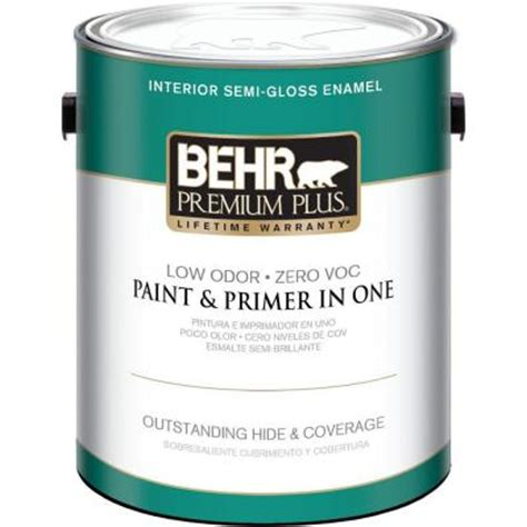 gloss paint behr premium plus 1 gal ultra pure white semi gloss zero voc interior paint 305001 the home depot