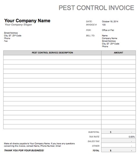 pest forms templates pest invoice template free invoice templates