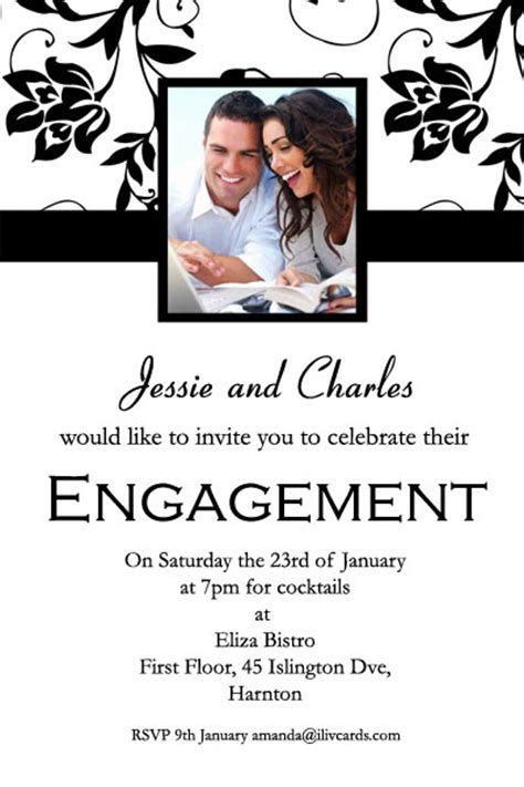 engagement photo invitations with flower topper