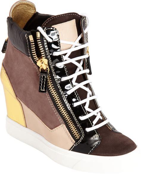 giuseppe wedge sneaker giuseppe zanotti colorblock zip wedge sneaker in