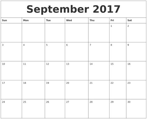 september 2017 editable calendar template