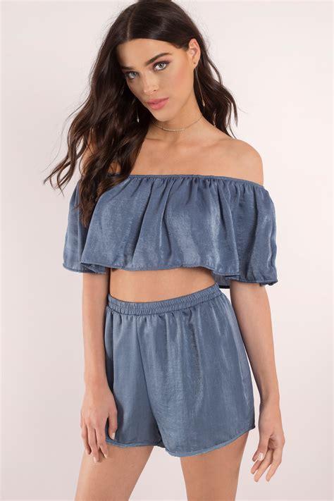 Shoulder Tops by Blue Top Bodice Crop Top Shoulder Crop Top