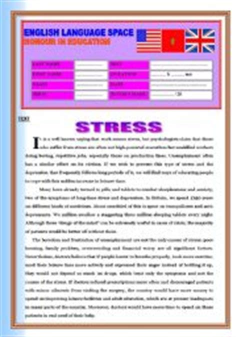 printable stress quiz for adults english worksheets stress