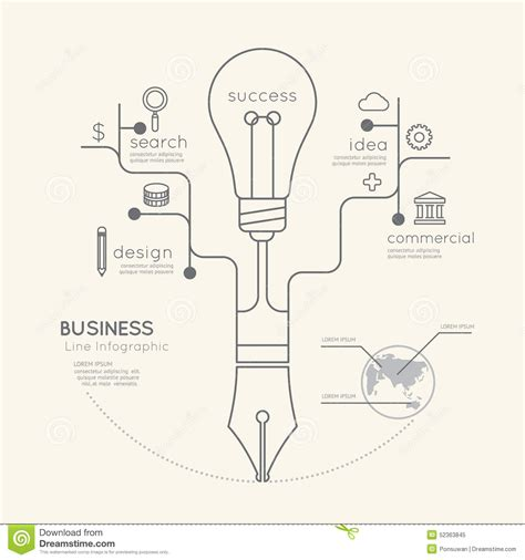Flat Linear Infographic Business Education Pen Tree With Light Stock Vector Image 52363845 Linear Flat Family Tree Infographics