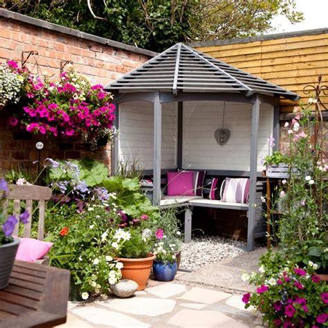 small courtyard garden ideas courtyard garden with corner arbour housetohome co uk