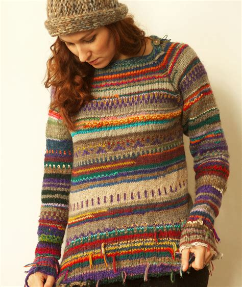 Handmade Wool Sweater - handmade striped wool sweater