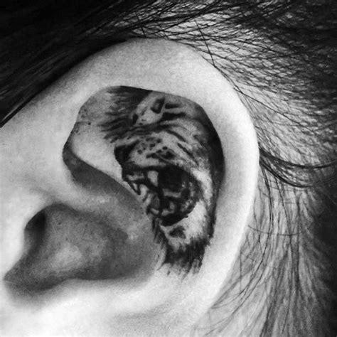 tattoo pen in ear 41 best ears back roaring tiger head tattoo images on