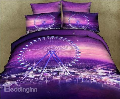 purple bed romantic ferris wheel purple color 4 piece bedding sets