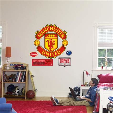 manchester united wall murals fathead manchester united logo wall graphic