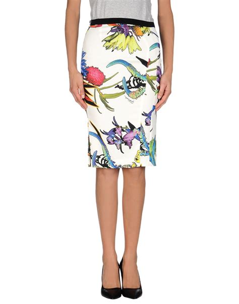 just cavalli knee length skirt in floral white lyst