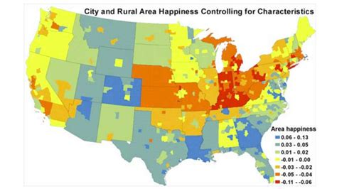 happiest places to live in the us this map shows where the happiest and unhappiest people