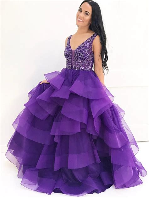 luxurious beads  neck purple long tulle quinceanera dress