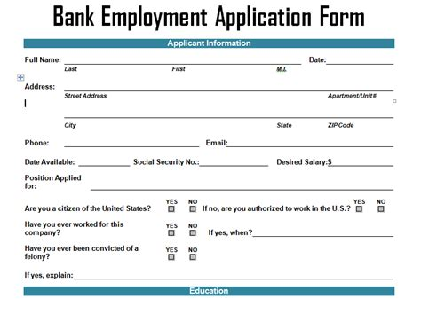First Job Resume Samples by Bank Employment Application Form Template Project