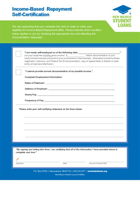 self certification letter direct loans income based repayment self certification printable pdf