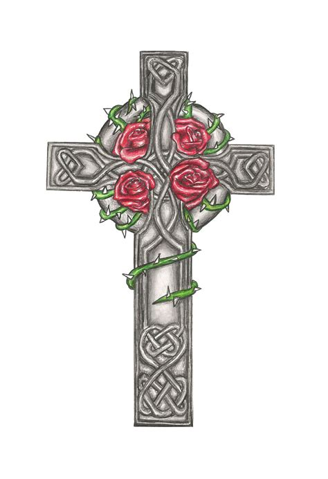 rose and cross tattoo meaning celtic cross design commision by laurenroseox on