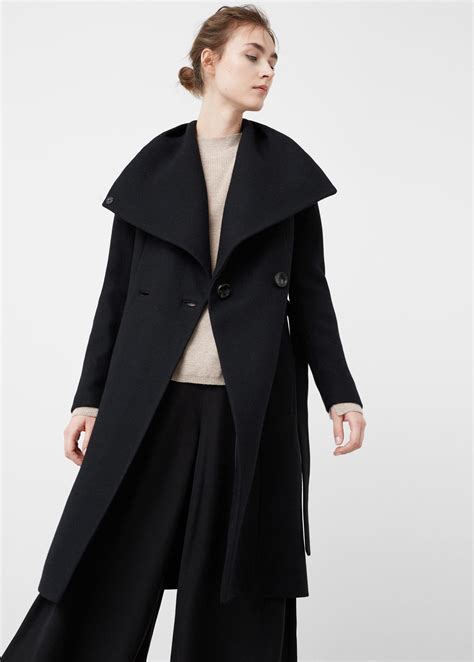Wide Lapel Wool Blend Coat mango wide lapel wool blend coat in black lyst