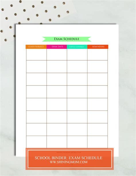printable exam planner free printable school binder