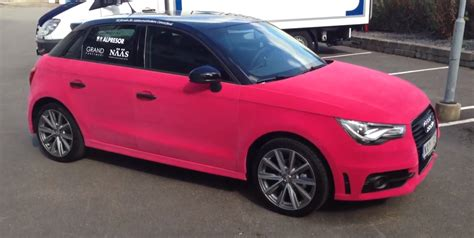 velvet wrapped cars audi a1 wrapped in pink velvet video autoevolution
