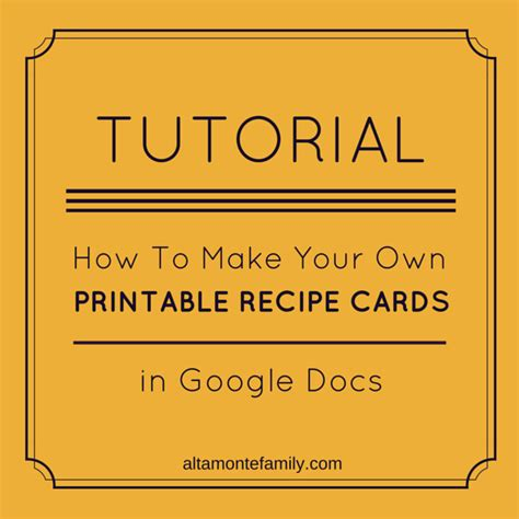 how to make your own recipe card template how to make free printables in docs