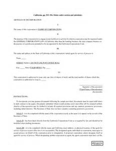 California Articles Of Incorporation Template articles of incorporation california sle