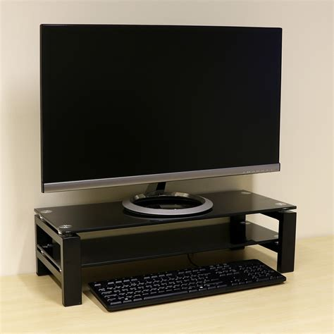 2 tier monitor display riser stand for computer pc imac tv