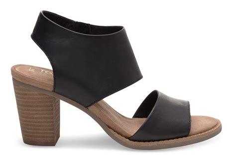 black sandals black leather s majorca cutout sandals toms 174