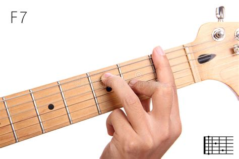 tutorial guitar photograph f dominant seventh guitar chord tutorial stock photo