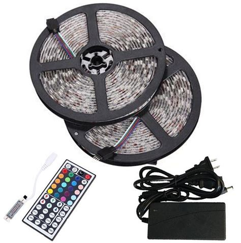 adhesive led lighting kit bmouo 2 reels 12v 32 8ft waterproof rgb led light kit multi colored smd5050 300