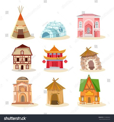 set houses drawings stock photo photo vector illustration big set of traditional houses from around the world