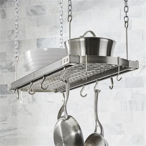 j k large grey ceiling pot rack crate and barrel