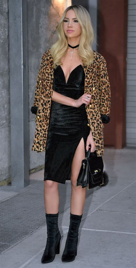 sexy black dress  leopard print jacket  boots