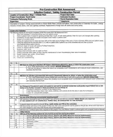 risk assessment form samples   word xls