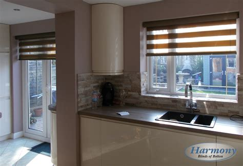 kitchen in a day brown day night blinds in a kitchen harmony blinds of