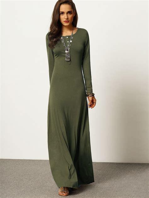 Dress Army Maxi army green sleeve maxi dress fall winter wear