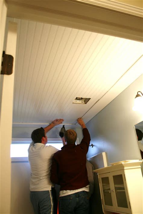 beadboard to cover popcorn ceiling fifth wall beadboard ceiling makeover guest remodelaholic