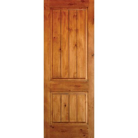 20 Interior Door Krosswood Doors 24 In X 80 In Knotty Alder 2 Panel Square Top V Groove Solid Wood Right