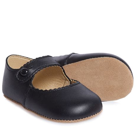 Prewalker Black Kets early days black leather pre walker shoes