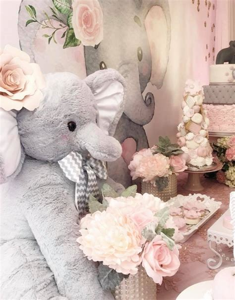 And Baby Shower by Pink And Gray Elephant Baby Shower Baby Shower Ideas