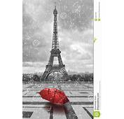 Eiffel Tower In The Rain Black And White Photo With Red