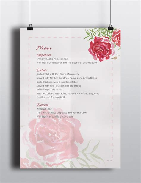 free psd templates wedding wedding menu invitation template the smell of roses