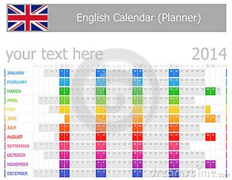 Kalender Englisch 2014 Englisch Planer Kalender Mit Horizontalen Monaten