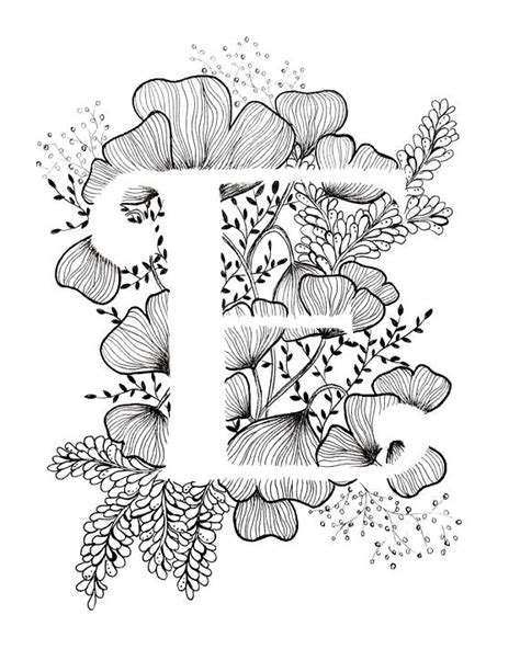Drawing U N O by Print De Letter E Met Florale Achtergrond
