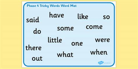 tricky words phase  word mat ks resource