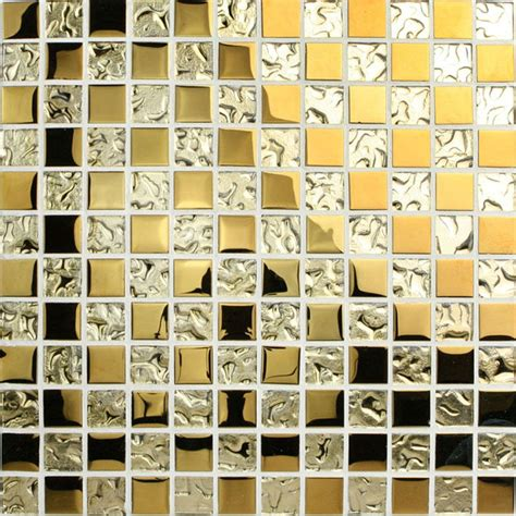 Penny Kitchen Backsplash Crystal Glass Mosaic Tile Sheets Gold Bathroom Wall