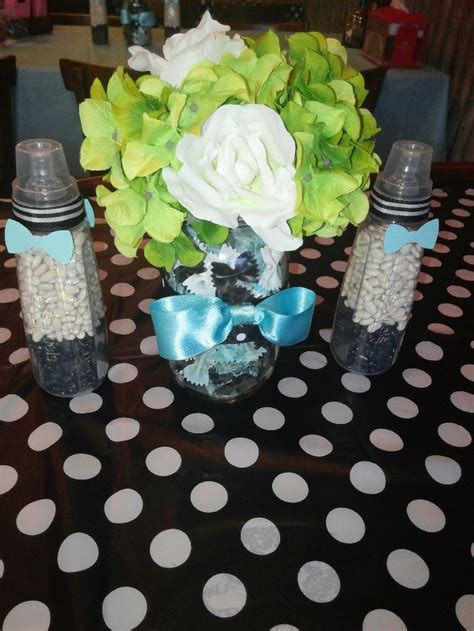 bow tie themed baby shower decorations bow ties and bottles themed baby shower centerpieces