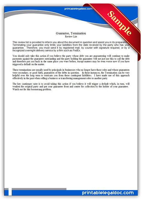 Guarantee Letter Pm Care Free Printable Guarantee Termination Form Generic